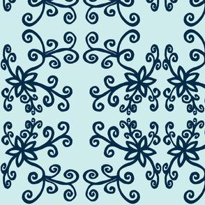 Black twirly flowers blues