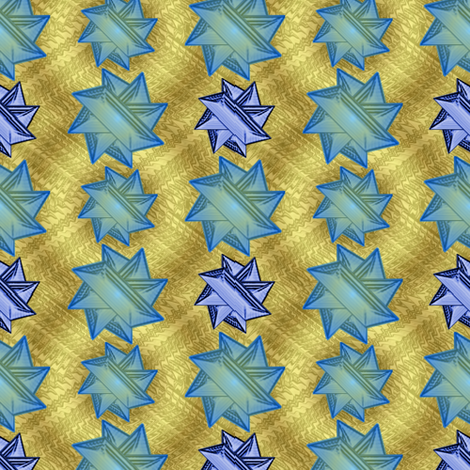blue stars on gold 1 fabric by y-knot_designs on Spoonflower - custom fabric