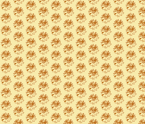 Sunflower2 Sketch-smaller version fabric by koalalady on Spoonflower - custom fabric