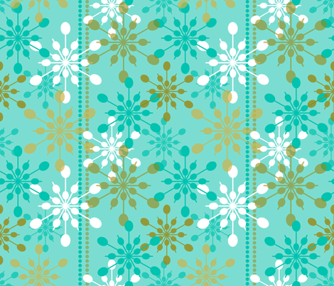 Snowfall ~ on holiday blue fabric by retrorudolphs on Spoonflower - custom fabric