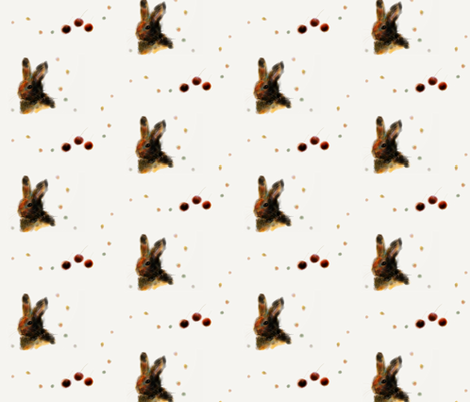 Bunny and Cherries fabric by mayuko on Spoonflower - custom fabric