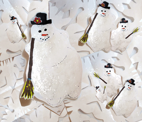 snowmenwithsnow fabric by kristinbell on Spoonflower - custom fabric