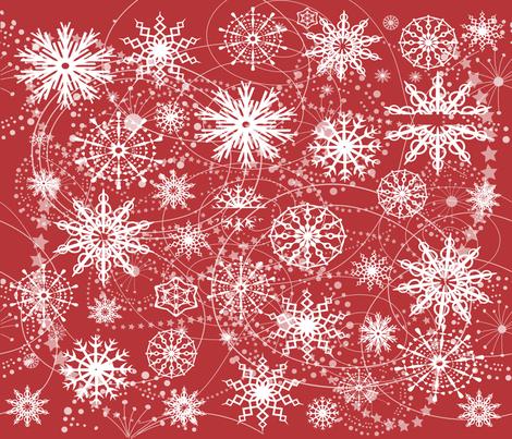 Little Flakey Christmas (RED) fabric by deeniespoonflower on Spoonflower - custom fabric