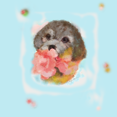 Winter dog watercolor blue fabric by mayuko on Spoonflower - custom fabric