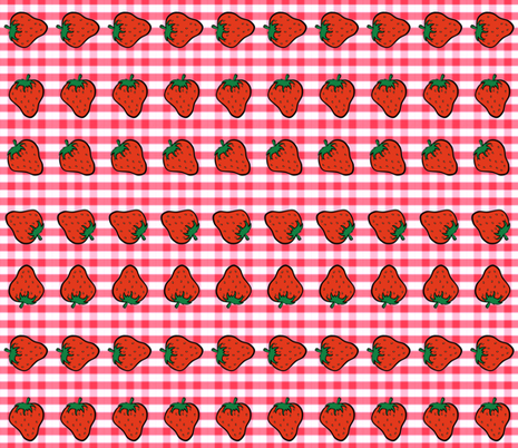 STRAWBERRIES N GINGHAM fabric by bluevelvet on Spoonflower - custom fabric