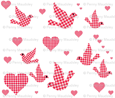 RED GINGHAM BIRDS N HEARTS