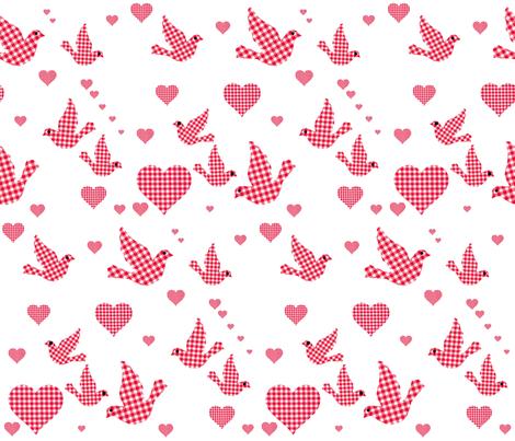 RED GINGHAM BIRDS N HEARTS fabric by bluevelvet on Spoonflower - custom fabric