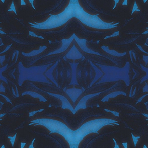Tropical plant Silhouette, midnight blue