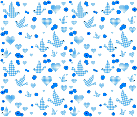 GINGHAM BLUEBIRDS AND BLUEBERRIES fabric by bluevelvet on Spoonflower - custom fabric