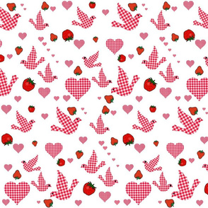 RED GINGHAM BIRDS,HEARTS AND STRAWBERRIES