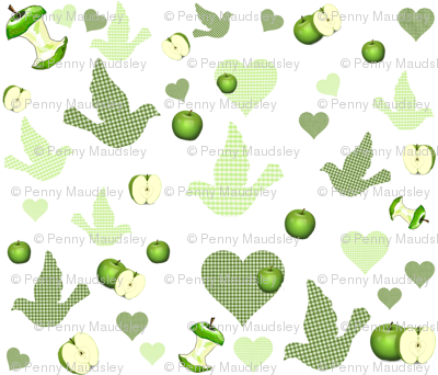COUNTRY GREEN APPLES AND GINGHAM BIRDS