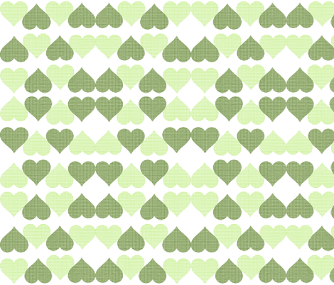 GREEN GINGHAM HEARTS fabric by bluevelvet on Spoonflower - custom fabric