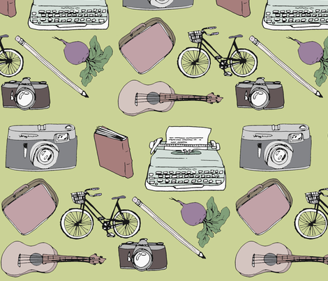 Favorite Things in Green fabric by odeda on Spoonflower - custom fabric