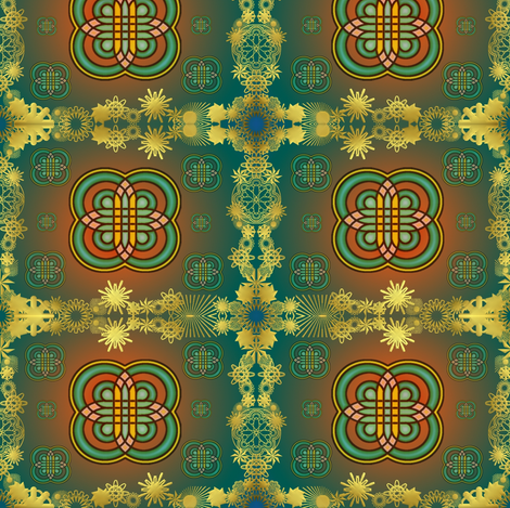 gold bordered rangoli fabric by y-knot_designs on Spoonflower - custom fabric
