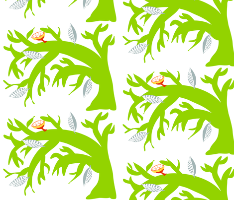 Bent_Tree_Bright_Green fabric by kcs on Spoonflower - custom fabric