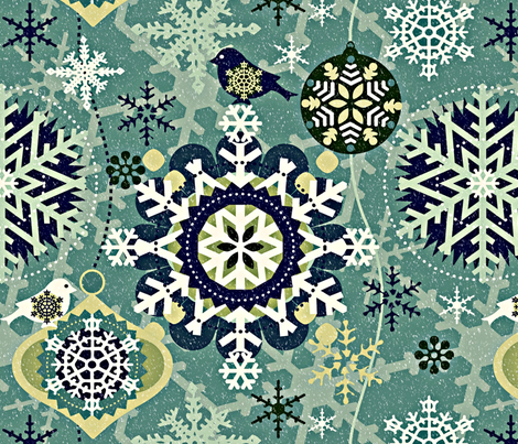 snowflakes in garden fabric by chicca_besso on Spoonflower - custom fabric