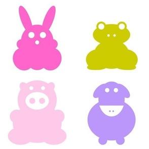 Animals multicolor on white