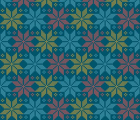star flower knittery | red - blue - yellow fabric by irrimiri on Spoonflower - custom fabric