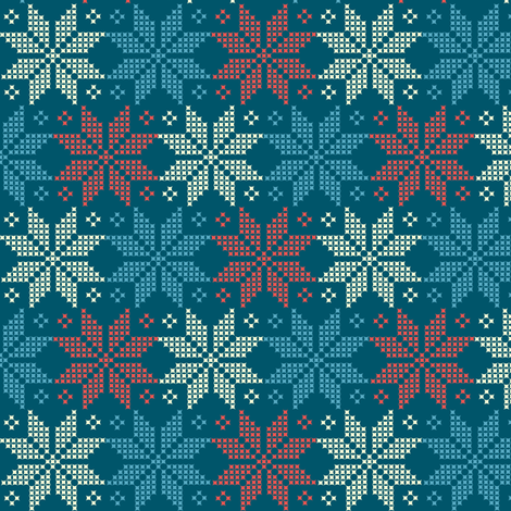 star flower knittery | red - blue -white fabric by irrimiri on Spoonflower - custom fabric