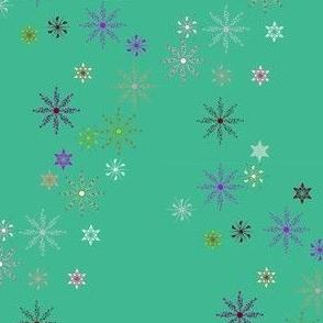 Festive Snow Flakes on Teal