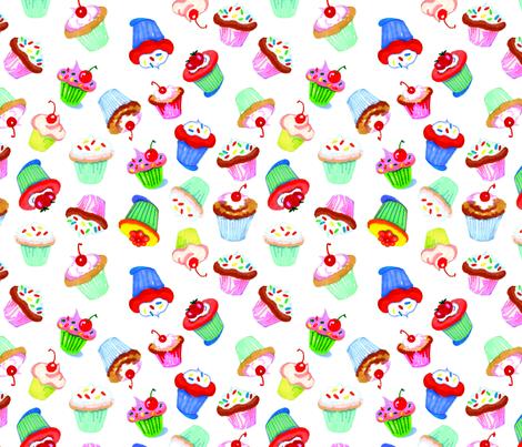 cupcake_repeat_on_white fabric by mcuetara on Spoonflower - custom fabric