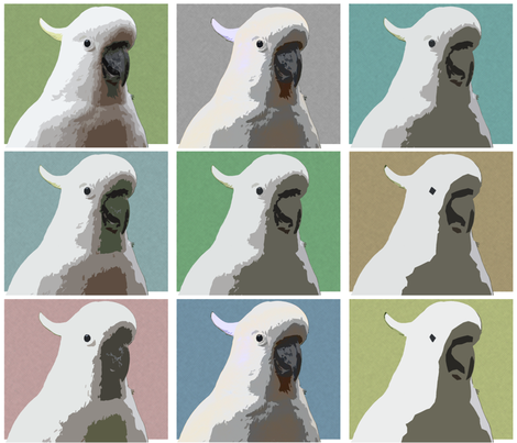 Subdued AW Cockatoos by Su_G fabric by su_g on Spoonflower - custom fabric