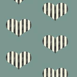 Stripey Hearts in Green
