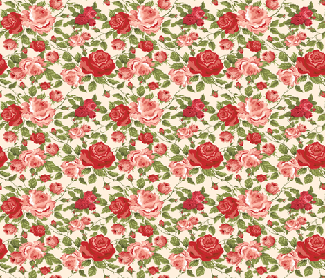 MISS KITTY'S ROSES fabric by bluevelvet on Spoonflower - custom fabric
