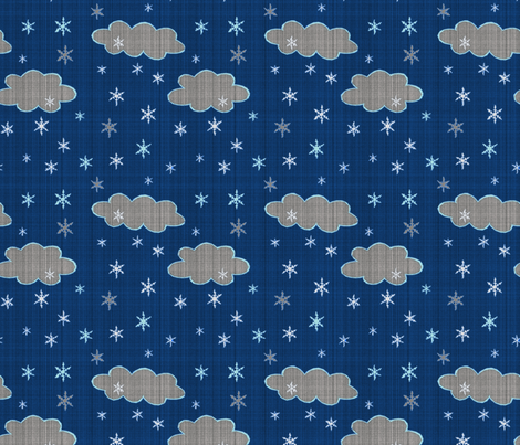 Snowflakes evening sky fabric by lucybaribeau on Spoonflower - custom fabric