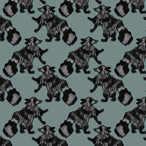 Houndstooth Raccoons  fabric by pond_ripple on Spoonflower - custom fabric