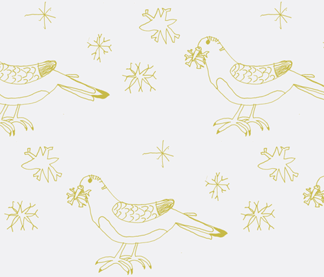 Catching Golden Snowflakes fabric by heartfullofbirds on Spoonflower - custom fabric