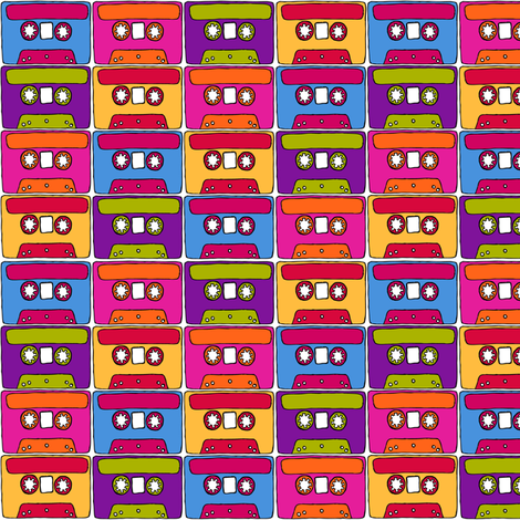 CurlyPops - Technicolour Cassettes fabric by curlypops on Spoonflower - custom fabric