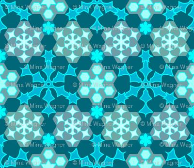 Grandmother's snowflake garden - colorguide bluegreen background
