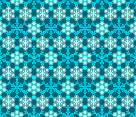 Grandmother's snowflake garden - colorguide bluegreen background fabric by mina on Spoonflower - custom fabric
