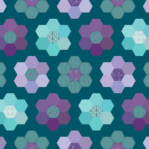 Grandmother's flower garden - with patterns - colorguide bluegreen background