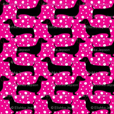 Polka Dachshunds (Pink and Black)