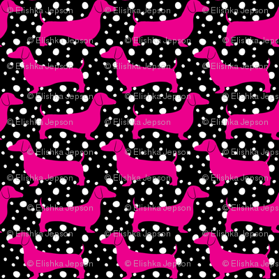 Polka Dachshunds (Black and Pink)