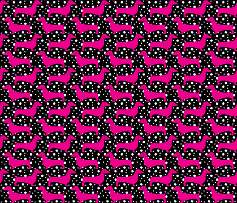 Polka Dachshunds (Black and Pink) fabric by robyriker on Spoonflower - custom fabric