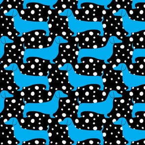 Polka Dachshunds (Black and Blue)