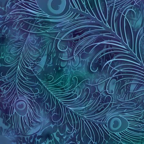 batik_peacock001_blue fabric by fabricfantasy on Spoonflower - custom fabric