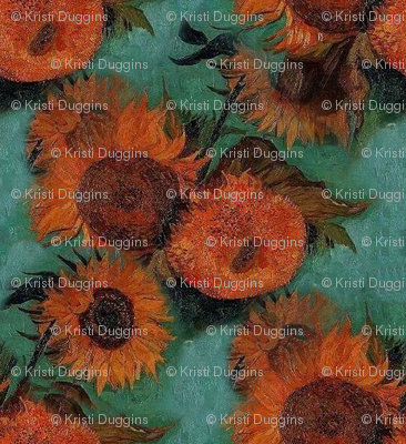 Van Gogh's Sunflowers  | Orange Flowers on Teal Green