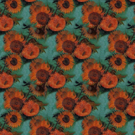 Van Gogh's Sunflowers  | Orange Flowers on Teal Green fabric by bohobear on Spoonflower - custom fabric