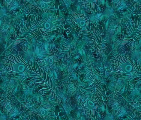 batik_peacock001_teal fabric by fabricfantasy on Spoonflower - custom fabric