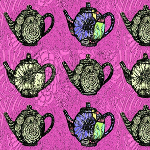 Black teapots on pink
