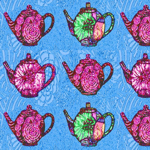 pink teapots on blue