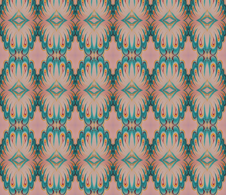 Flutterby Teal 'n Pink fabric by house_of_heasman on Spoonflower - custom fabric