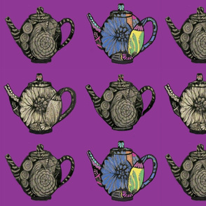 teapots on blue