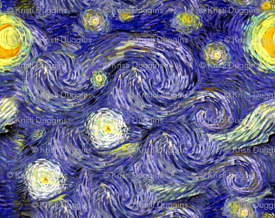 Van Gogh's Starry Night | Sky Only | Dark Blue Version