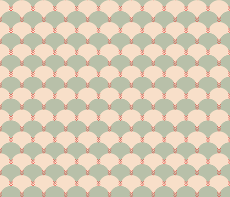 Scallops & Chevrons_Coral Colorway fabric by michelerosenboom on Spoonflower - custom fabric