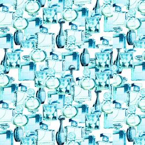 Blue perfume bottles